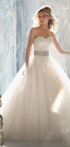 This classic A-line wedding dress is perfect for a traditional bride.