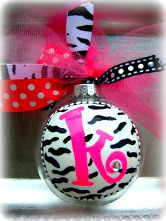 ZEBRA Print Letter Ornament by pinksevendesigns on Etsy, $12.00    <3 && it has a K... :)