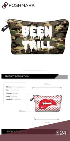 Been Trill Makeup Cosmetic Case 💄 Been Trill Makeup Cosmetic Case 💄 size 18 x 22 x 13.5 centimeters (see second photo). Bundle with other items for additional discounts! Tags: MAC, Urban Decay, Kylie Cosmetics, Too Faced, Anastasia Beverly Hills, Chanel, NARS, Kat Von D, tarte, Benefit, Makeup Forever, Sephora, Bobbi Brown, Laura Mercier, Bare Minerals Makeup