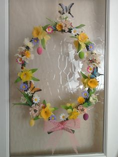 Easter wreath from upcycled diy dance exam flower hoop
