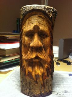 A wood spirit i carved from a piece of hazel i believe.
