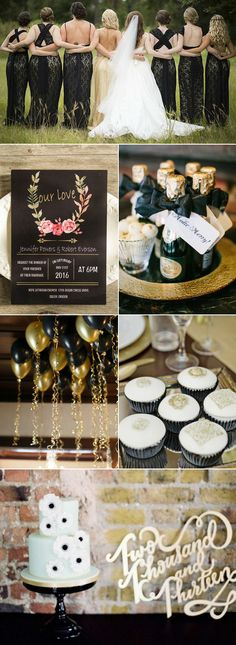 classic black and gold wedding color palettes
