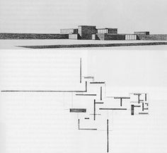 """""""This wonderfully free-flowing 1923 'pinwheel' plan for a country house project by Ludwig Mies van der Rohe combines elements of Frank Lloyd Wright, De Stijl Art (see below left for example from Berlage and Malevich. Architecture Drawings, School Architecture, Architecture Plan, Contemporary Architecture, Minimalist Architecture, Organic Architecture, Ludwig Mies Van Der Rohe, Le Corbusier, Farnsworth House"""
