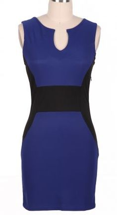 Blue Sleeveless Split Body-Conscious Dress