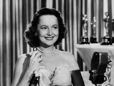 """nitratediva: """"Olivia de Havilland with her Best Actress Oscar for To Each His Own (1946). At 100, she is the oldest living Oscar winner as of this posting. """""""
