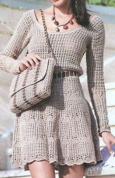 Hand Crocheted Long Sleeve Dress With Scooped Neck - Made to Order Crochet Cardigan, Knit Skirt, Crochet Lace, Knit Dress, Lace Dress, Dress Like A Parisian, Mode Hijab, Crochet Fashion, Crochet Designs
