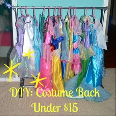 DIY costume rack to display and organize your little girls dress up clothes for under $15!
