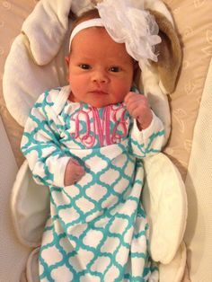 Personalized custom monogrammed name aqua Quatrefoil baby gown going home outfit  Any color thread, Baby shower Newborn, Hospital outfit by JillsDzigns on Etsy