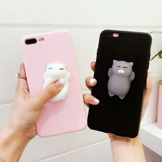3D Cute Squishy Kitty Cat Finger Pinch Phone Case Cover Protect iPhone 6 6s 7P