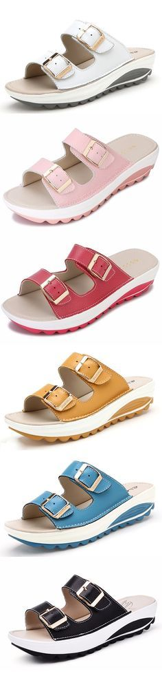 US$20.89 Candy Color Leather Buckle Metal Color Match Platform Beach Sandals Slippers