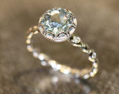 Natural Aquamarine Engagement Ring in 14k Rose by LaMoreDesign