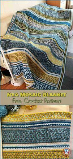 Crochet Afghans Patterns Nya Mosaic Crochet Blanket by Tatsiana Kupryianchyk Stitch Crochet, Basic Crochet Stitches, Crochet Basics, Free Crochet, Crochet Baby, Motifs Afghans, Afghan Crochet Patterns, Knitting Patterns, Blanket Crochet