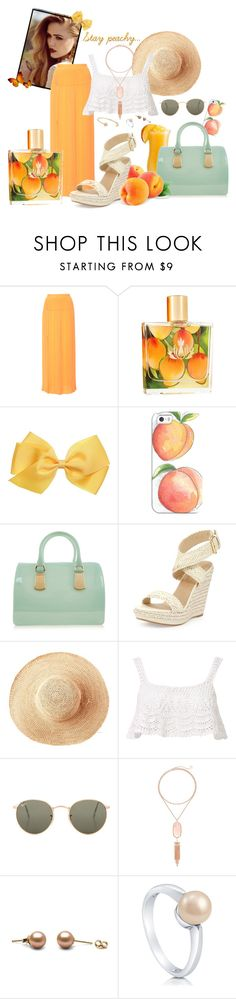 """Stay peachy"" by spells-and-skulls ❤ liked on Polyvore featuring Sonia Rykiel, Malie Organics, Casetify, Furla, Stuart Weitzman, Toast, Beauty & The Beach, Ray-Ban, Kendra Scott and BERRICLE"