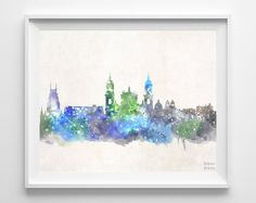 Bogota Skyline Colombia Poster Watercolor by InkistPrints on Etsy, $11.95