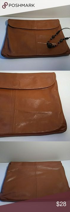 "Extra large brown leather clutch Very soft leather vintage clutch purse in good clean condition with snap closure, spacious inside with pocket. 15.5"" across, 11"" tall Bags Clutches & Wristlets"