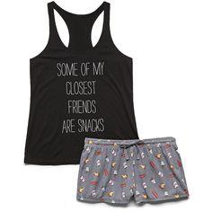 Forever 21 Snacks PJ Set ($13) ❤ liked on Polyvore featuring intimates, sleepwear, pajamas, 16. comfy wear., pijama, shirts, snacks, dog print pajamas, dog pjs and forever 21