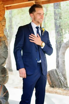 Amazing get-up by Joe Button groom in our custom navy blue three ...