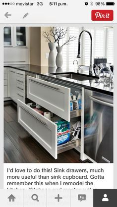 Interesting idea with drawers under sink. Plus, you have a place to hang your towels.