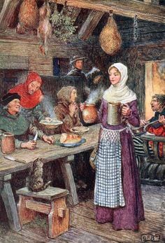 """At a village hostel they found rough but friendly entertainment. Illustration by Eleanor Fortescue-Brickdale from """"The Gathering of Brother Hilarius"""" (1913)"""