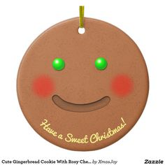 Cute Gingerbread Cookie With Rosy Cheeks Ceramic Ornament