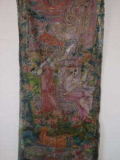 handbemalte Seide Vorhang 75 x 335 Zoll. von aminamarei auf Etsy