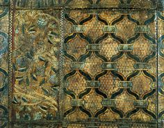 Leather Panel  16th century Italy, perhaps Florence.  Tooled leather with paint and silver and gold leaf.  Comune di Firenze - Museo Stefano Bardini, Florence