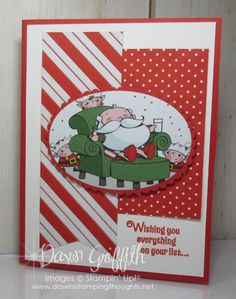 Hi Stampers , Happy Monday friends ! Here is our Card Sketch # The template is actually pretty simple in design BUT like any card sketch we can jazz it up as much or as little as you like. I thought it would be fun to use new goodies that will be in … Chrismas Cards, Christmas Cards 2018, Homemade Christmas Cards, Stampin Up Christmas, Xmas Cards, Holiday Cards, Santa's Workshop Sign, Santas Workshop, Christmas Note