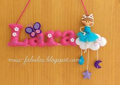 Baby name felt with little girl ballerina dancer  - Nombre bebe con niña bailarina en fieltro CONTACT: carmenmissfabulas@gmail.com
