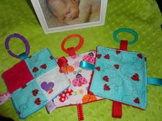 Baby Girl Toys Set of 3 taggies crinkle sounds by Sassydoodlebaby, $8.99