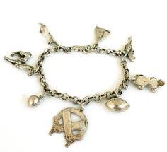 Vintage Coro Sterling 8 Charm Bracelet Sports 27.8 Grams 1940s  | eBay