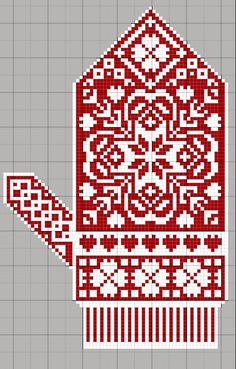 Christmas mitten embroidery a cross, scheme Knitted Mittens Pattern, Knit Mittens, Knitted Gloves, Knitting Charts, Knitting Stitches, Knitting Patterns, Cross Stitching, Cross Stitch Embroidery, Cross Stitch Patterns