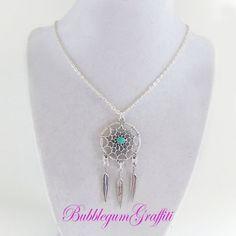 Dream catcher necklace feather necklace by BubbleGumGraffiti