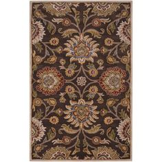 Artistic Weavers Luton Rectangular Brown Floral Wool Area Rug (Common: 5-ft x 8-ft; Actual: 5-ft x 8-ft)