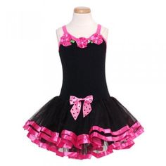 Toddler Little Girls Black Hot Pink Leotard Tutu Dance Dress 2T-6X