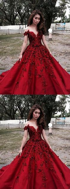 Sexy Prom Dresses Scoop Ball Gown Burgundy Long Prom Dress/Evening Dress P2342
