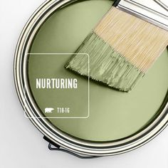 Color of the Month: Nurturing - Colorfully, BEHR - Fresh, warm and natural, Nurturing is our selection for the year's traditional month of gr - Green Paint Colors, Exterior Paint Colors, Paint Colors For Home, Room Colors, Wall Colors, House Colors, Green Shades Of Paint, Green House Paint, Playroom Paint Colors