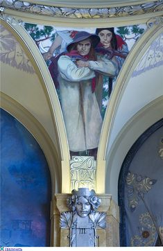 Interior wall details (and ceiling) of the Prague Municipality building painted by Alphonse Mucha. Czech Art Nouveau