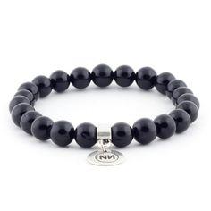 Pulsera naturaleza de mármol negro con colgante, diseño exclusivo de ZERO NONO | www.zeronono.com