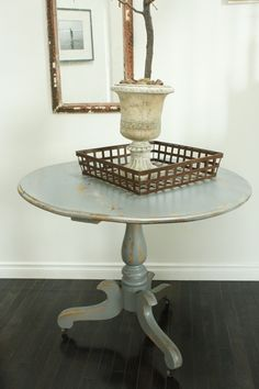 I love the weathered gray look lately. Must try this with ikea liatorp table