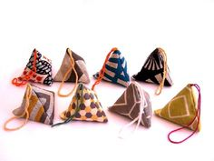 lavender sachets made from scraps of japanese fabrics