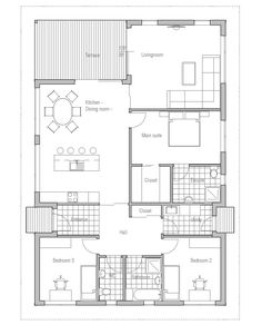 Affordable Small House Plan CH72 from ConceptHome.com. Floor plan.