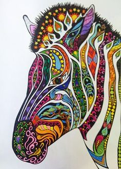 Zentangle Zebra - design by Phil Lewis from a new and different type of coloring book!