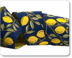"1-1/2"" Lemons on Blue by Laura Foster Nicholson  Item #lfnt-139_38mm_col_1"
