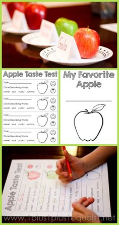 MFW - Kindergarten A for Apple 1 Plus 1 Plus 1 Equals 1 has a FREE Apple Taste Test printable for you. Us it to allow your children to taste apples and decide which one they like better. Preschool Apple Theme, Fall Preschool, September Activities, Autumn Activities, Science Activities, Kindergarten Themes, Kindergarten Activities, Apple Unit, Apple Seeds
