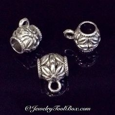 Charm Pendant Bail, Pewter, Antique Silver Tone, Lead Free, 14x10mm, Lot Size 5 to 25, #1190