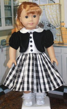 American Girl Style Jacket Dress in Black Velvet Sewing Doll Clothes, Girl Doll Clothes, Doll Clothes Patterns, Girl Dolls, Ag Dolls, Doll Patterns, American Girl Dress, American Girl Crafts, American Doll Clothes