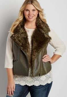 plus size faux leather vest with faux fur lining (original price, $79.00) available at #Maurices
