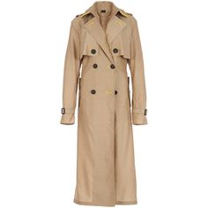 Burberry Prorsum Storm Shield Silk Wool Trench Coat (39.633.080 IDR) ❤ liked on Polyvore featuring outerwear, coats, beige trench coat, burberry trenchcoat, belted coat, beige wool coat and burberry