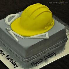 Civil Engineer Graduation Cake With Edible Hard Hat