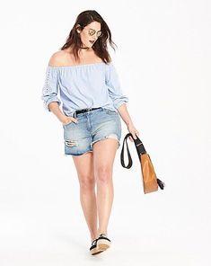 810fa7245bc Simply Be Blue/White Stripe Bardot Top Size UK 26 LF171 FF 08 #fashion